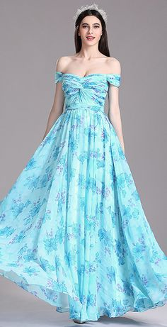 Azure Floral Off Shoulder Printed Evening Dress
