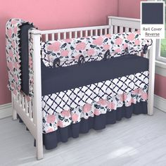Navy and Coral Pink 3 Tier Nursery Idea | Customizable Crib Bedding Set | Carousel Designs