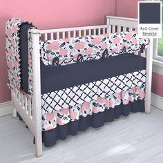 Navy And C Pink 3 Tier Nursery Idea Customizable Crib Bedding Set Carousel Designs
