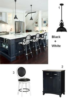 Black and White Kitchen with Black Island/White Cabinets