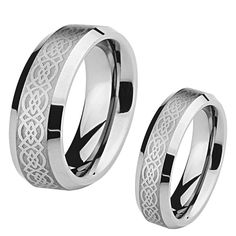 His and Her's 8MM/6MM Tungsten Carbide Wedding Band Ring Set w/Laser Etched Celtic Design >>> Click image for more details. (This is an affiliate link and I receive a commission for the sales)