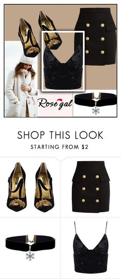 """ROSEGAL 55"" by amilasahbazovic ❤ liked on Polyvore featuring Dolce&Gabbana, Balmain, fabulous, rosegal and FashionByMe"