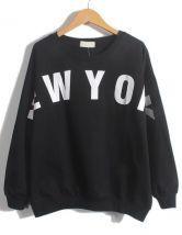 Black Long Sleeve NEW YORK Print Loose Sweatshirt $19.67