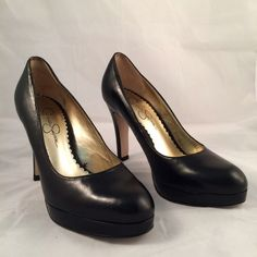 Jessica Simpson heels Black platform high heels. Size 6.5. Upper leather materials. Jessica Simpson Shoes Platforms