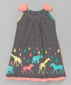 Love this Black & White Stripe Animal A-Line Dress - Toddler & Girls on #zulily! #zulilyfinds