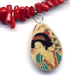 Old China Pottery Pendant Old Chinese Pottery Pendant by Annaart72, $45.00