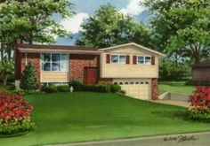 "9"" x 12"" watercolor house portrait of split-level home in St. Louis, Missouri. Copyright 2016 Richelle Flecke"