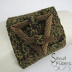 Wide Woodland Treasure Peyote Cuff   A Sand Fibers by SandFibers