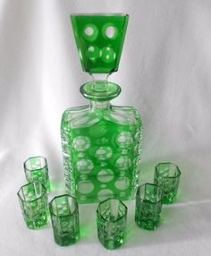 Bohemian Decanter Set 6 Glasses Emerald Green Cut to Clear Crystal Spot Cordial
