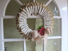 Christmas wreath by Enfys Cashmore Christmas Wreaths To Make, Christmas Projects, Christmas Crafts, Valentine Wreath, Valentines, Book Page Wreath, So Little Time, Simple Designs, Holiday Crafts