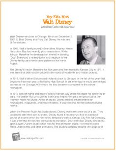 Walt Disney   Printable Biography - http://makingartfun.com/htm/f-maf-printit/disney-printit-biography.htm