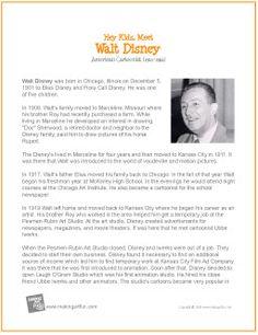 Walt Disney | Printable Biography - http://makingartfun.com/htm/f-maf-printit/disney-printit-biography.htm