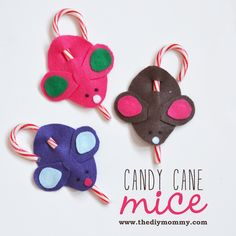 Candy Cane Mice a la Martha Stewart on The DIY Mommy. Be sure to take the candy cane OUT to store them if you use them for Christmas ornaments.