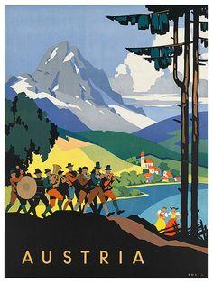 Art Austria Poster Travel Print Vintage Austrian by Blivingstons