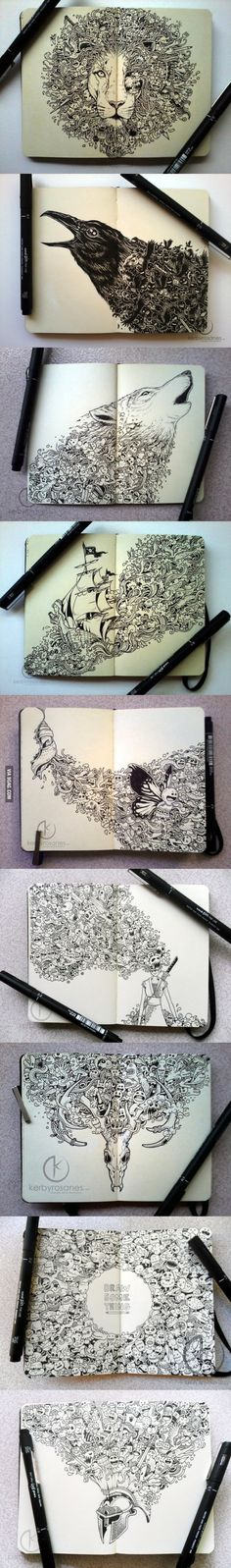 Funny pictures about Moleskine Drawings. Oh, and cool pics about Moleskine Drawings. Also, Moleskine Drawings photos. Et Tattoo, Art Graphique, Art Plastique, Zentangles, Cool Drawings, Amazing Drawings, Sketchbook Drawings, Detailed Drawings, Beautiful Drawings