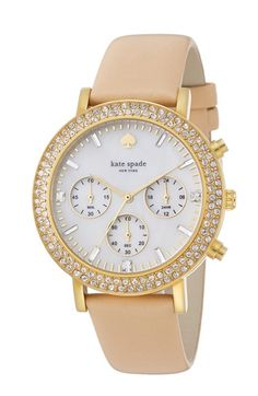 kate+spade+new+york+'metro+grand'+crystal+bezel+leather+strap+watch,+38mm+available+at+#Nordstrom
