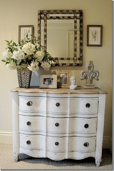 idea:  update my french provencal dresser I got for my 4th birthday by painting the top light tan.