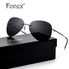 214b4931fd FONEX Brand Men s Polarized Sunglasses Rimless Aviation Driving Titanium  Alloy Sunlgass Sports Womens Sun Glasses for Men 20008