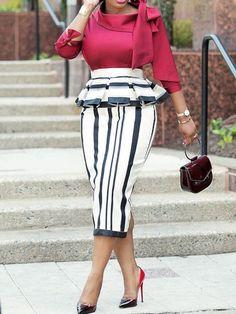 African Fashion Falbala Three-Quarter Sleeve Stripe Women's Sheath Dress Fashion girls, party dresses long dress for short Women, casual summer outfit ideas, party dresses Fashion Trends, Latest Fashion # Latest African Fashion Dresses, African Dresses For Women, African Attire, African Wear, African Women, Casual Dresses For Women, Latest Ankara Styles, Stripe Skirt, Striped Dress