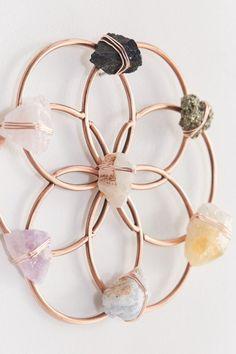 Hanging Crystals, Diy Crystals, Crystals And Gemstones, Stones And Crystals, Displaying Crystals, Crystals In The Home, Crystal Room Decor, Crystal Wall, Crystal Grid