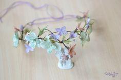 Bridal floral headband Woodland crown Hydrangea head piece Wedding flower crown Mint flower garland back hair Floral hairpiece Rustic wreath by Vualia on Etsy