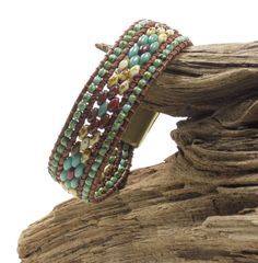 SINGLE WRAP LEATHER Bracelet-SuperDuos-Toho Seed Beads-Southwest-Boho-Chic-Hippie-Leather Cuff-Picasso-Magnetic Clasp (SW1)