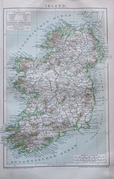 IRLAND 1894 antike alte Landkarte antique map Lithografie Éire Ireland