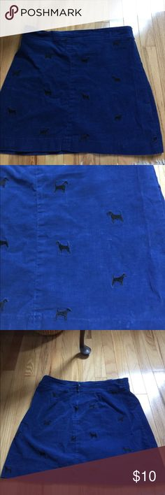 Lilly Pulitzer Corduroy skirt Blue thin corduroy with black Dogs. Top border stitching a bit out but doesn't affect Skirt because it's double stitched below. Lilly Pulitzer Skirts Mini
