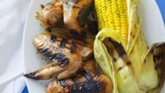 Sticky chicken wings with barbecued corn cobs recipe : SBS Food