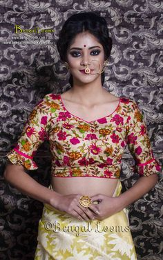 Floral Printed Designer Saree Blouse in Size 32