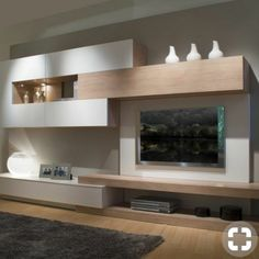 This living room furniture measures 360 cm long and 45 cm deep. - This living room furniture measures 360 cm long and 45 cm deep. We propose the combination of matt - Living Room Wall Units, Living Room Designs, Living Room Decor, Dining Room, Tv Unit Furniture, Furniture Design, Cheap Furniture, Tv Wall Design, House Design