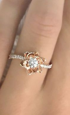 Flower Design Diamond Engagement Ring