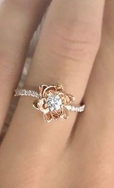 Flower Design Diamond Engagement Ring #UniqueEngagementRings