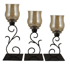 3 Piece Glass and Metal Candle Holder Set
