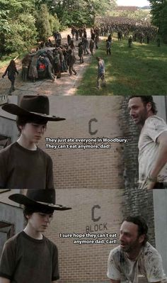 Even Rick Grimes from The Walking Dead can make foot puns! The 19 Greatest Dad Jokes From Rick Grimes Walking Dead Funny, Walking Dad Jokes, Walking Dead Coral, Carl The Walking Dead, Image Gag, Best Dad Jokes, Funny Memes, Hilarious, Twd Memes