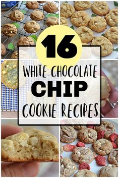 16 of the best cookies using white chocolate chips! Holiday Cookie Recipes, Best Cookie Recipes, Cookie Desserts, Sweet Desserts, Dessert Recipes, Bar Recipes, Easy Desserts, White Chocolate Chip Cookies, Christmas Cookie Exchange