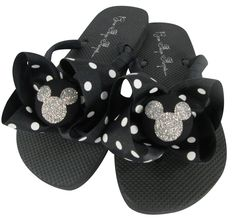 2d66d78ef Red   Silver Disney Bow Flip Flops with Glitter Bling Mickey