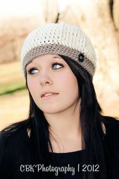 Crochet Beanie with Button by Adorably Hooked