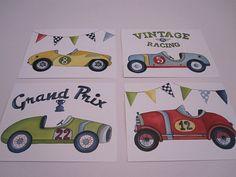 Race car kids art vintage transportations box cars kids art boys bedroom by terezief baby nursery boys art prints