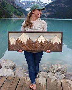 Four-Peak Mountain Woodworking Projects Entertainment Center art diy art easy art ideas art painted art projects Wood Board Crafts, Diy Wood Projects, Wood Crafts, Woodworking Projects, Art Projects, Woodworking Classes, Woodworking Patterns, Woodworking Bench, Wall Decor Crafts