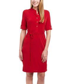 Look at this #zulilyfind! Brick Tie-Waist Button-Front Dress #zulilyfinds