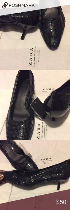 Brand New Zara Black Mesh Heeled Shoes Completely sold out online. It's a very sexy black mesh design w/patten leather detail on back of heel. Super sleek and trendy. Catches light really nicely. Never worn, see bottom shoe pics. True fit for size 9, comfortable.  Zara lists their version of Euro 40 as a US size 9.  Zara dust bag included. I have 2 pair so selling this one. Zara Shoes