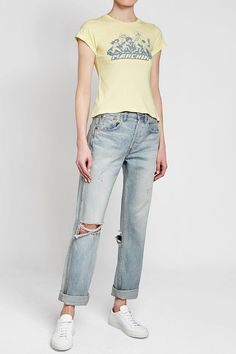 RE/DONE - Printed Cotton T-Shirt | STYLEBOP Mom Jeans, Skinny Jeans, Yellow Fashion, Printed Cotton, Yellow Style, Prints, T Shirt, Shopping, Women