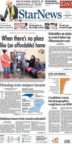 Front page for Sunday, March 1, 2015