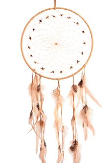 Natural Dream Catcher -   Detailed with pig split hide, metal beads, assorted semi precious stones, hackle feathers and pheasant feathers. Webbed with sinew. http://www.indianvillagemall.com/dreamcatchers/naturaldreamcatchers.html