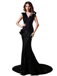Elegant V-Neck Trumpet/Mermaid Beaded Evening Dress