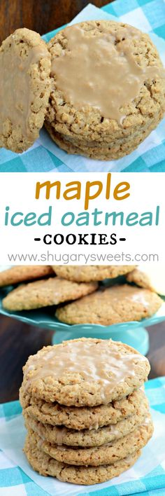 "Maple Iced Oatmeal Cookies with a crunchy outside and a sweet, chewy center! The glaze on top is the ""icing on the cake""!"
