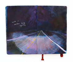 """Sketchbook Page 73/100""""Awake on another lonely nightbus."""" Missy Dunaway"""