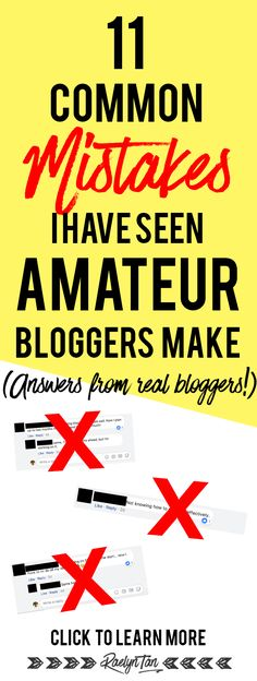 Blogging for beginners: Avoid these 11 common mistakes amateur bloggers make! Answers from real bloggers and entrepreneurs included! Everyone wanting to start a successful blog has to read this before they launch their website!