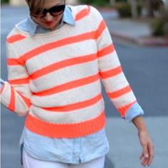 J. Crew Neon Twisted Stitch Open-Neck Sweater J. Crew Twisted Stitch Open Neck Sweater in Neon Stripe. Deliciously light and meticulously crafted with an intricate twisted stitch for a touch of texture. Cozy yet sleek, it has a slim fit, an open rollneck and bracelet sleeves. -Slim fit. -Cotton/poly/linen/nylon. -Hits at hip. -Bracelet sleeves. -Rib trim at neck, cuffs and hem. -In great condition. (Cover photo from idabsolutelyloveto.com)  NO Trades. Please make all offers through offer…